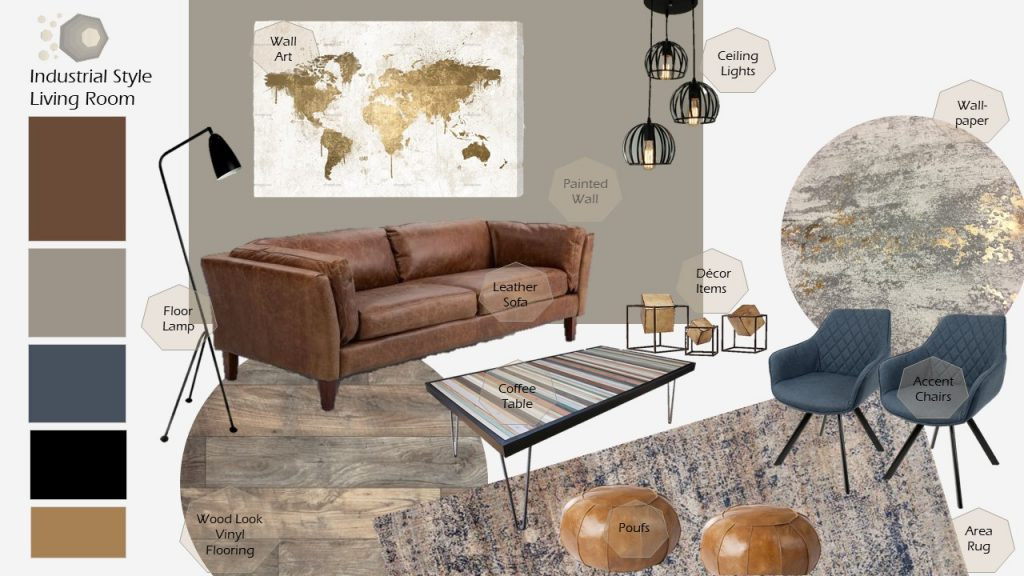 Living room with industrial inspiration