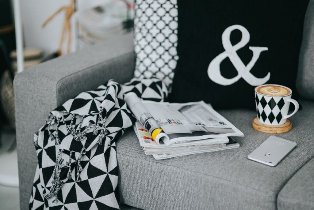 Black, white, grey, gray, couch, interior decor, decorating, cushions, throw, geometric pattern