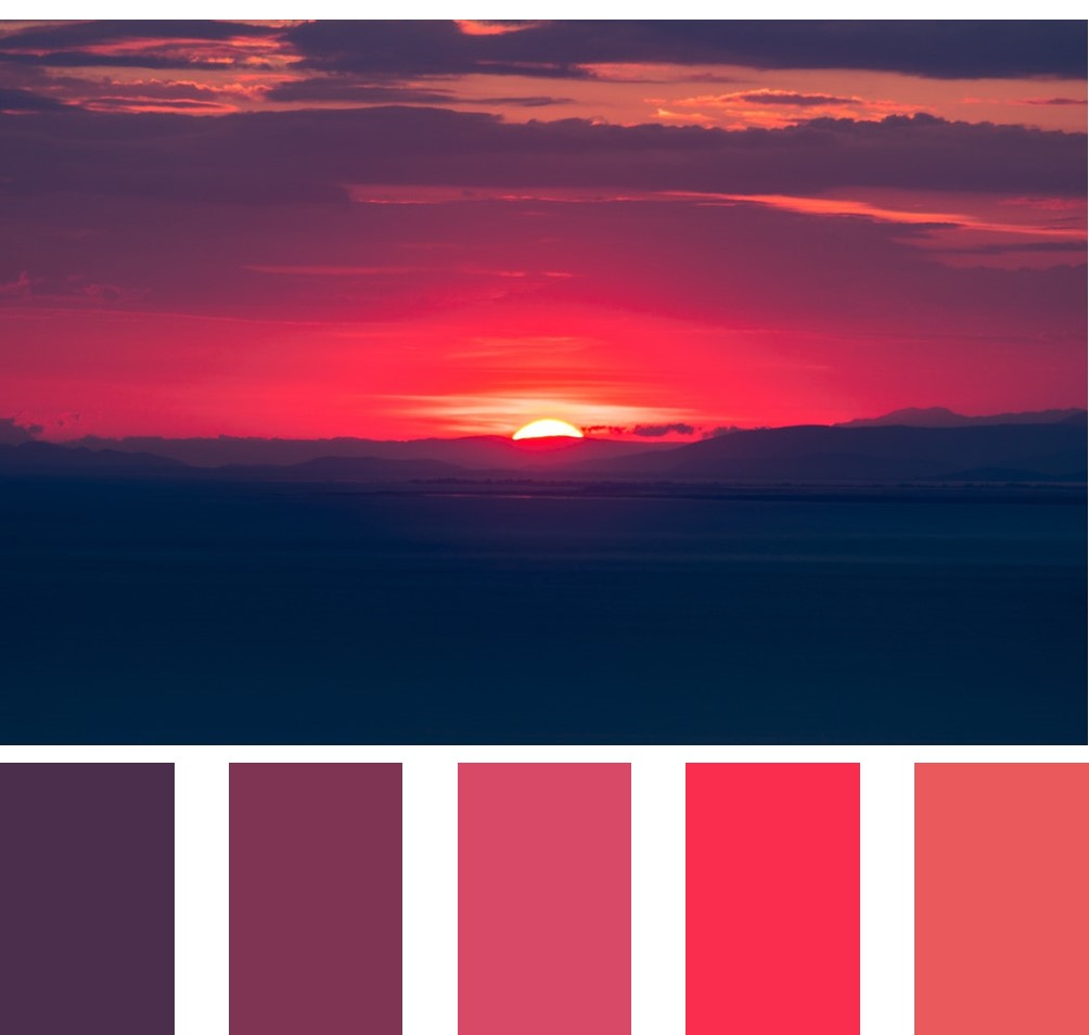 Analagos color scheme - red, red-violet, red-orange