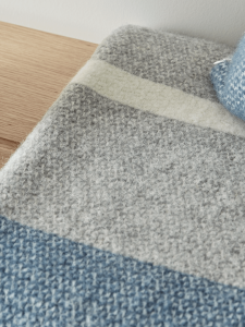 Blue Grey Wool Throw