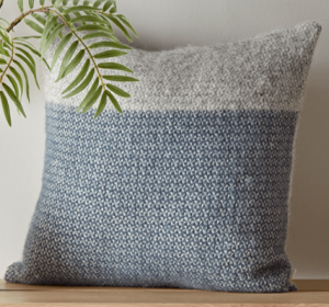 Blue Grey Wool Cushion, Throw Pillow