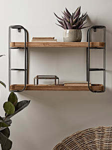 Metal Wood Rustic Wall Shelf