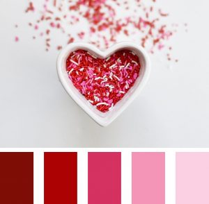 Monochromatic ombre red to pink to white