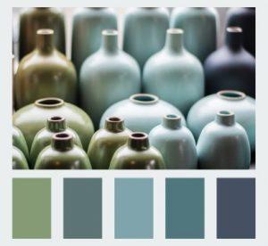 Green Teal Aqua Charcoal