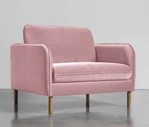 Pink Velvet Love Seat
