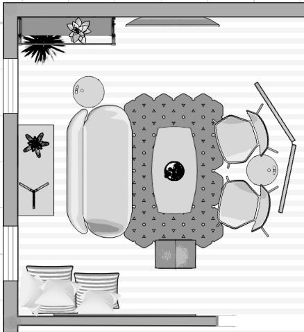Under scaled Small Room Furniture Layout