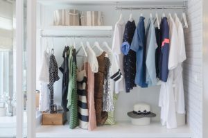Tidy woman's wardrobe with levels and storage space for different items