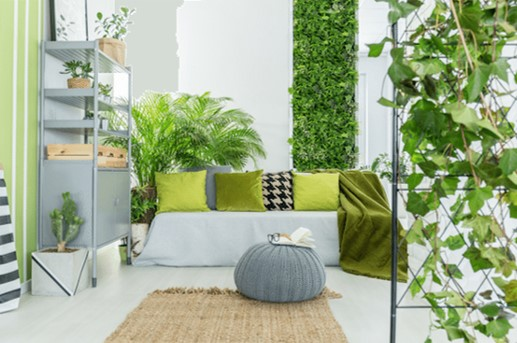 Living-wall.-Creeper-plant-room-divider.-Green-black-white-grey-room.