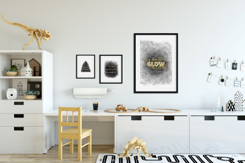 Decorating is child's play with black, white, yellow and gold, shapes, and texture.