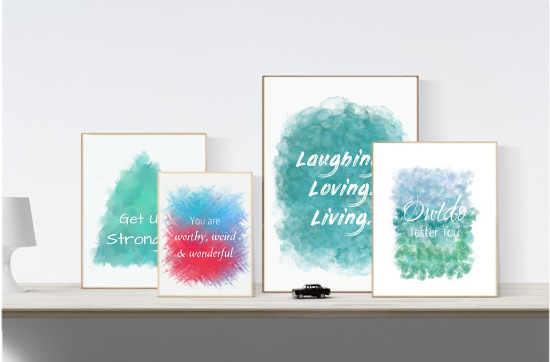 Printable Motivational Wall Art Teal Green Blue Red Turquoise White