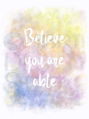 Product Printable Digital Download Motivational Art Believe White Lime-yellow Yellow-orange Red-violet Blue-violet