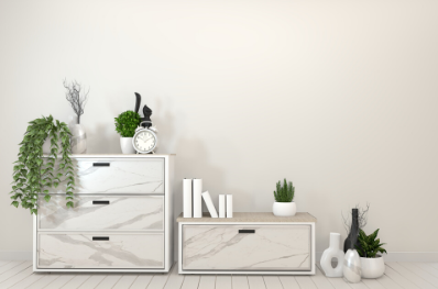 Play around with levels and make storage interesting and decorative