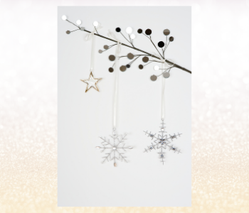 Simplistic Christmas tree decorations and ornaments