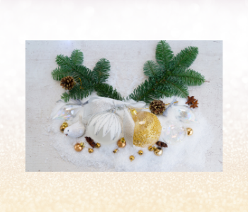 White, gold and green Christmas decorations