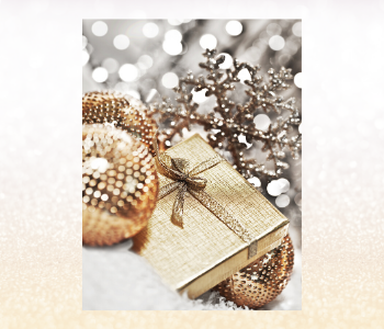 Golden wrapped gift, gold festive