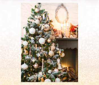 Christmas tree with white, gold and silver decorations