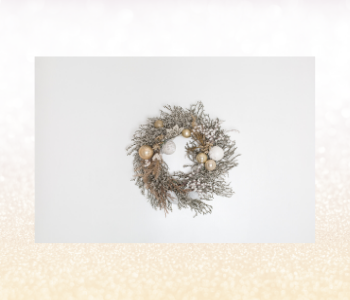 Silver, white and gold wreath