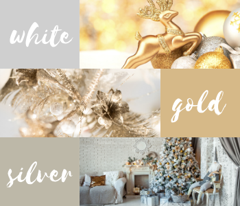 Silver, white and, gold festive inspiration.