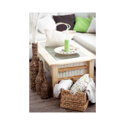 You can store blankets and throw pillows in textured baskets